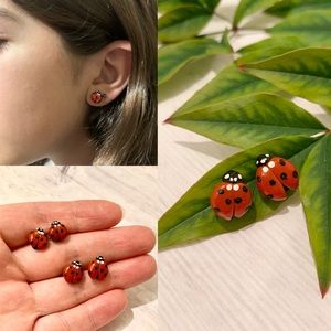 Handmade Ladybug earrings made of polymer clay